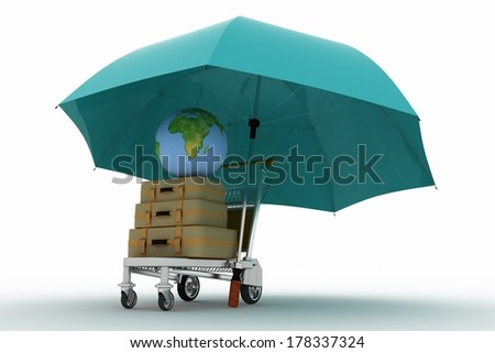 Transportation of earth and suitcases on a freight light cart under the umbrella. Elements of this image furnished by NASA. - stock photo