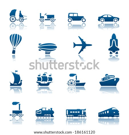 Transportation progress icon set. Raster version - stock photo