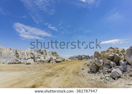 Transportation road in Quarry with blue sky