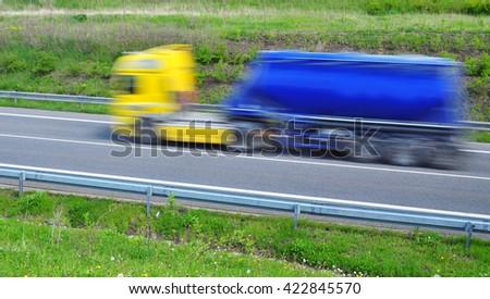 Transportation transport truck tank cistern blur   - stock photo