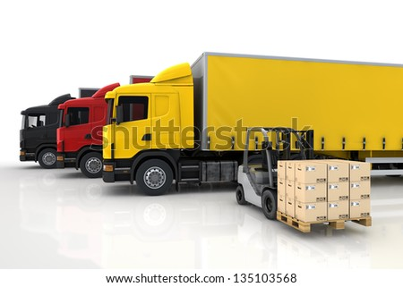 Transportation trucks in freight delivery company with forklift with packages - stock photo