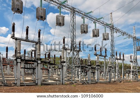 Trap-lining (high-frequency stopper) on the high-voltage transmission line - stock photo