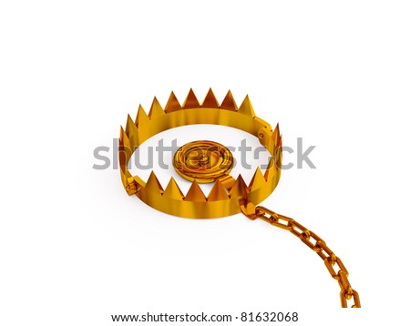 Trap with a chain. 3d rendered. Isolated on white background. - stock photo