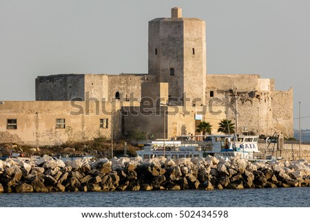 TRAPANI, ITALY - AUGUST 10 2016: Castle of Colombaia located on a small island in front of the Trapani's harbor. This is one of the oldest monuments in the city tracing its origins to antiquity.