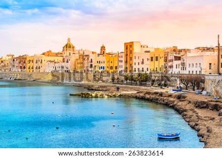 Trapani panoramic view of harbor, Sicily, Italy. - stock photo