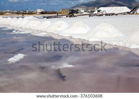 TRAPANI - SEPTEMBER 21: salt production and red water for algal concentrations at ancient salt-work on September 21, 2015 in Trapani, Italy. Water is red for presence of micoorganism. Nubia, Sicily