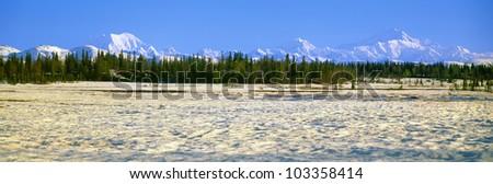 Trapper Creek and Mount McKinley, Alaska - stock photo