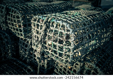traps for catching crab and lobster in the port - stock photo