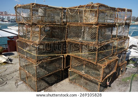 Traps for crabs - stock photo