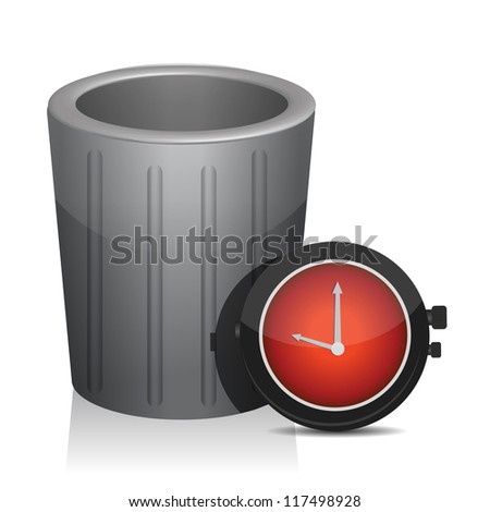 trash and timer watch illustration design over white - stock photo
