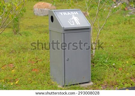 Trash Bin At  The Park - stock photo