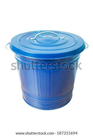 trash bin isolated on white background - stock photo