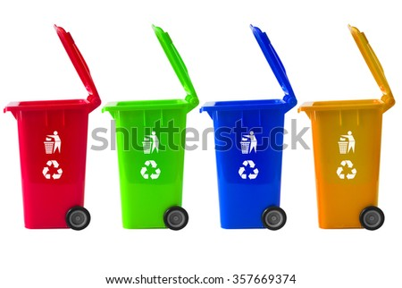 Trash Bin mix color with recycle logo. - stock photo