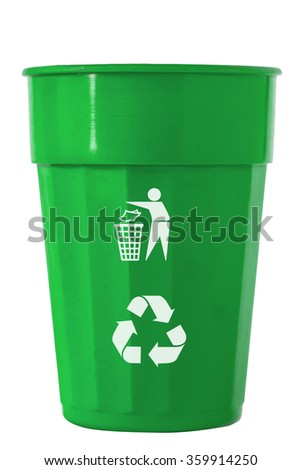 Trash Bin mix color with recycle logo - stock photo