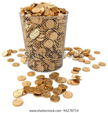trash bin with gold coins isolated on white background. - stock photo