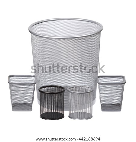 Trash bins set. One big and four small. Recycle cans. Empty metal bins for paper. Isolated on white background - stock photo