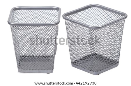 Trash bins set. Recycle cans. Empty metal bins for paper. Isolated on white background - stock photo