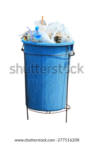 Trash can filled with rubbish, isolated on the white - stock photo