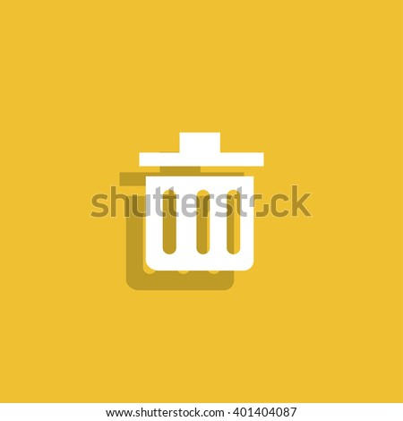 Trash can icon. Flat design style