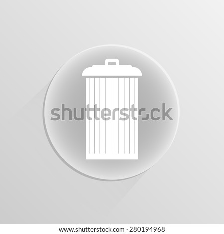 Trash can icon, illustration on a white button with shadow
