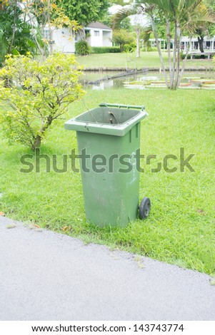 trash can in park - stock photo