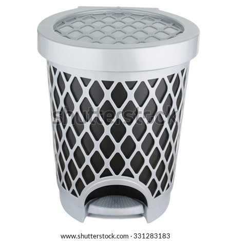 Trash can made of gray plastic with pedal