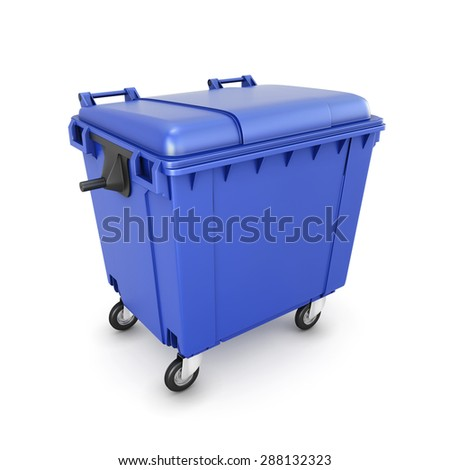 Trash can on wheels isolated on white background. 3d illustration.