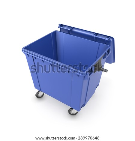 Trash can on wheels isolated on white background. 3d illustration. - stock photo