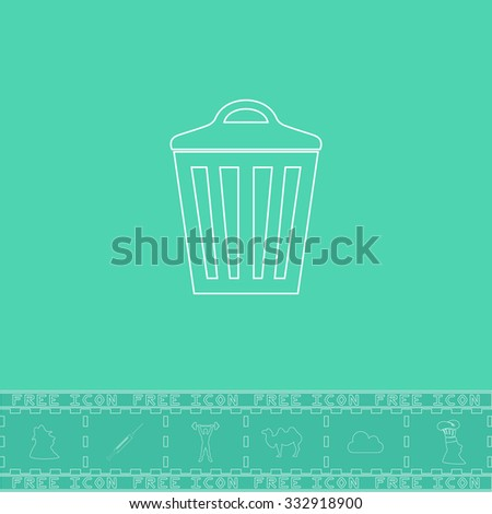 Trash can. White outline flat icon and bonus symbol. Simple illustration pictogram on green background