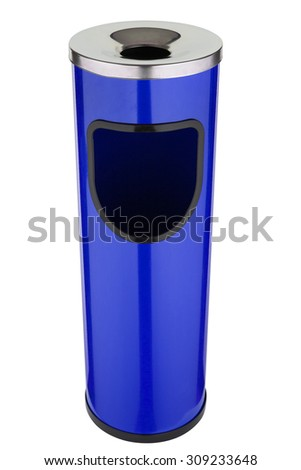 Trash can with ash tray blue metal