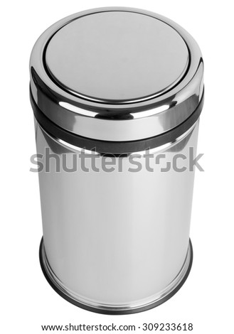 Trash can with easy swing lid polished stainless steel top view