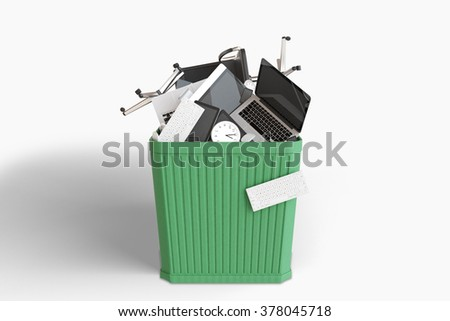 Trash can with office furniture and accessories 3D Render - stock photo