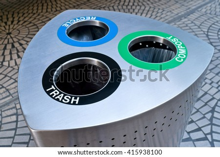 Trash, Compost, Recycle Garbage Can - stock photo