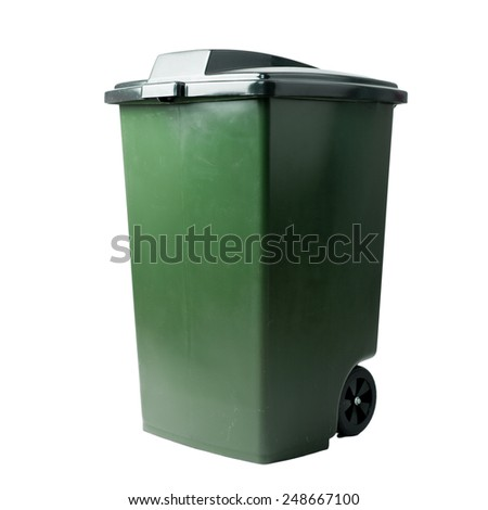 trash container isolated on white - stock photo