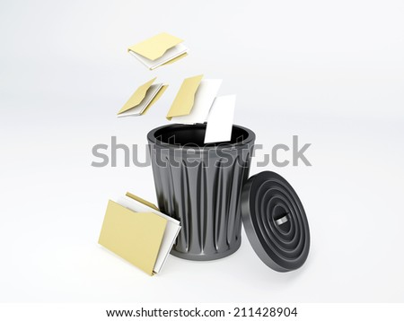 Trash folder on white background - stock photo