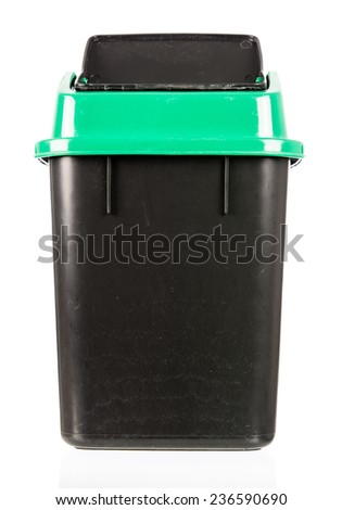 trash isolated dirty old black bin isolated on over white background - stock photo
