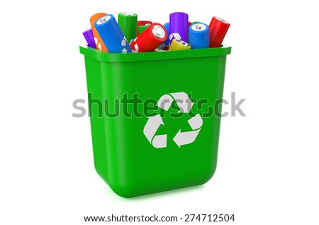 trashcan with recycle batteries  isolated on  white background  - stock photo