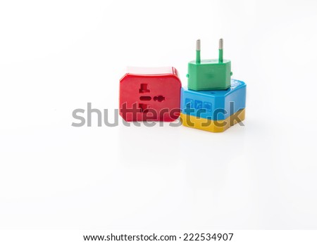 Travel adapter, Universal Adapters colourful on isolate white background