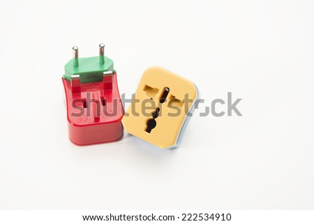 Travel adapter, Universal Adapters colourful on isolate white background - stock photo