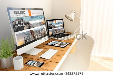 Travel agency responsive web on an hardwood desk on devices mock up. Screen graphics are made up. 3d illustration. - stock photo