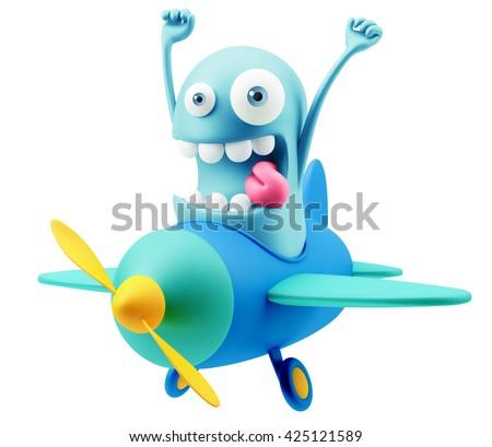 Travel Airplane Flight Emoji Cartoon 3d Rendering