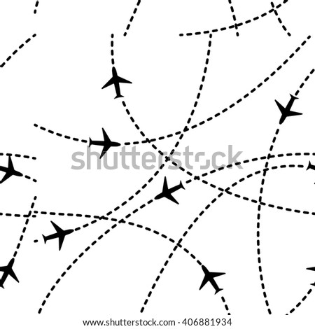 Travel airplane routes background. Seamless pattern airways illustration.
