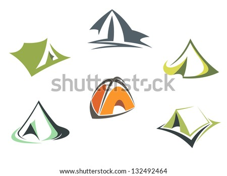Travel and adventure camp tents set isolated on white background or logo template. Vector version also available in gallery - stock photo