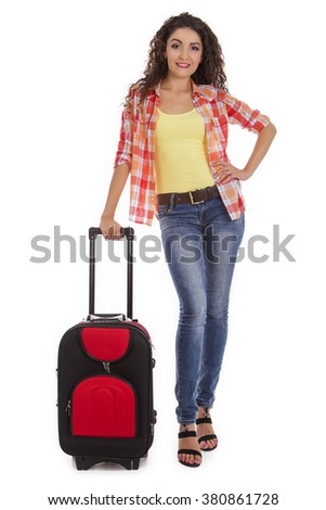 Travel and adventure concept. Beautiful Caucasian woman with a suitcase.