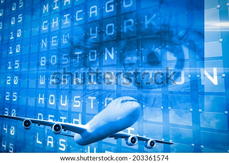 Travel and tourism collage with eye against blue sky with white clouds - stock photo