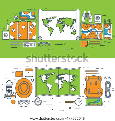 Travel and tourism. Flat style. World, earth map. Globe. Trip, tour, journey, summer holidays. Travelling,exploring worldwide. Adventure expedition.navigation.