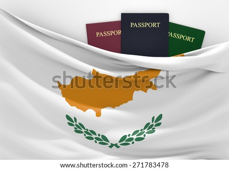 Travel and tourism in Cyprus, with assorted passports - stock photo
