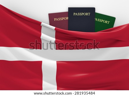 Travel and tourism in Denmark, with assorted passports - stock photo