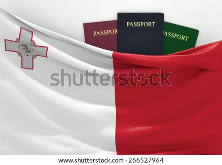 Travel and tourism in Malta, with assorted passports - stock photo