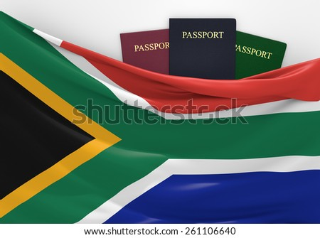 Travel and tourism in South Africa, with assorted passports - stock photo